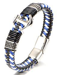 cheap -Men's Boys' Bangles Leather Bracelet - Classic Fashion Geometric Blue Bracelet For Gift Daily