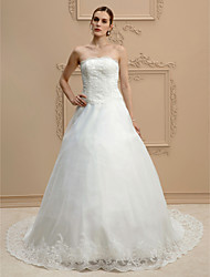 cheap -Ball Gown Strapless Court Train Lace Organza Custom Wedding Dresses with Beading Appliques by LAN TING BRIDE®