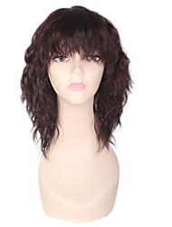 Donna Parrucche sintetiche Senza tappo Medio Onda effetto mare Afro Marrone Attaccatura dei capelli naturale Per donne di colore Con