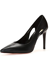 cheap -Women's Heels Basic Pump Spring Summer Nappa Leather Casual Dress Stiletto Heel Black White 2in-2 3/4in