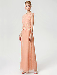 cheap -Sheath / Column Jewel Neck Ankle Length Chiffon Beaded Lace Mother of the Bride Dress with Beading Lace by LAN TING BRIDE®