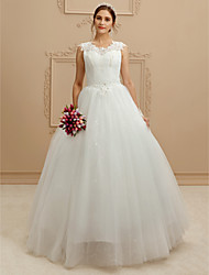 Ball Gown V-neck Floor Length Lace Tulle Wedding Dress with Beading Sequin Appliques by LAN TING BRIDE®