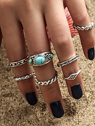 Women's Midi Rings Turquoise Fashion Bohemian Turquoise Alloy Circle Taper Shape Jewelry For Casual Formal