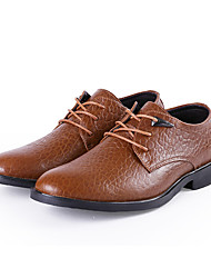 Men's Shoes Real Leather Cowhide Nappa Leather Spring Fall Formal Shoes Oxfords Lace-up For Casual Office & Career Khaki Light Brown Black