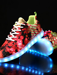 cheap -Women's Shoes Canvas Fall Winter Light Up Shoes Comfort Sneakers Flat Heel Round Toe With Animal Print LED Lace-up For Casual Party &
