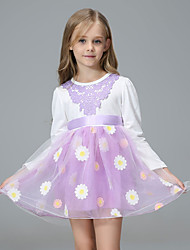Girl's Back to School Casual/Daily Holiday Floral Dress,Cotton Acrylic All Seasons Long Sleeve
