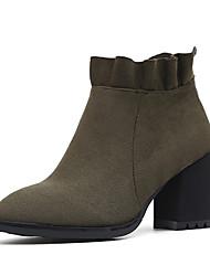 Damen Schuhe Kunstleder Herbst Winter Komfort Stiefel Blockabsatz Booties / Stiefeletten Für Normal Schwarz Grün