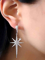 cheap -Women's AAA Cubic Zirconia Long Stud Earrings / Drop Earrings - Stainless Steel, Zircon Star Luxury, Fashion Silver For Party / Gift