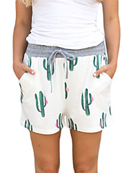 Women's High Rise Stretchy Shorts Pants,Simple Loose Print