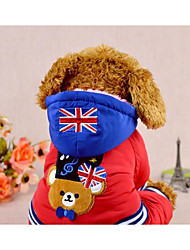 Dog Coat Dog Clothes Keep Warm Cartoon Blue Red