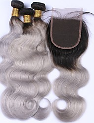 cheap -Malaysian Hair Body Wave Hair Weft with Closure Human Hair Weaves Black / Grey Human Hair Extensions