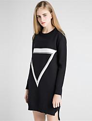 Недорогие -Для женщин На каждый день Простое Оболочка Трикотаж Платье Однотонный С принтом Контрастных цветов,Круглый вырез Средней длины Длинный