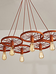 cheap -Six Heads Macaron Orange Color Vehicle Wheel Pendant Lamp for the Living Room / Bedroom /Canteen Room Decorate Creative Drop Light