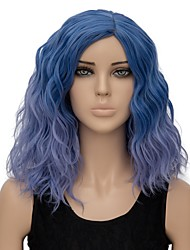 Women Synthetic Wig Capless Short Water Wave Light Blue Ombre Hair Halloween Wig Costume Wig