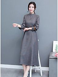 Women's Holiday Going out Vintage Street chic Sheath Swing Dress,Color Block Stand Maxi Long Sleeves Polyester Spring Summer High Rise