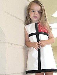 Girl's Birthday Daily Holiday Geometric Dress,Cotton Summer Sleeveless Check Red Blushing Pink