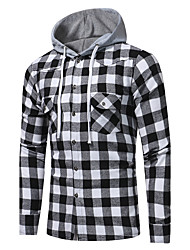 cheap -Men's Daily Going out Cute Active Street chic Winter Fall Shirt Hooded Long Sleeves Cotton Polyester