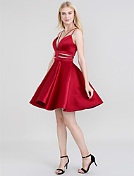 cheap -A-Line Spaghetti Strap Short / Mini Satin Open Back Prom Dress with Sash / Ribbon by TS Couture®