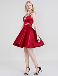 preiswerte -A-Linie Spaghetti-Träger Kurz / Mini Satin Offener Rücken Abiball Kleid mit Schärpe / Band durch TS Couture®