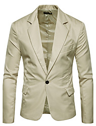 cheap -Men's Daily Simple Casual Winter Fall Plus Size Regular Blazer,Solid Notch Lapel Polyester