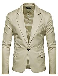 cheap -Men's Plus Size Slim Blazer-Solid Colored Notch Lapel / Long Sleeve