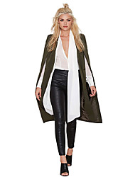 Women's Casual/Daily Work Street chic Sophisticated Fall Cloak/Capes,Solid V Neck Sleeveless Regular Acrylic Polyester