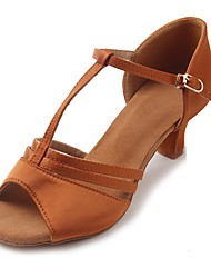 "Women's Latin Satin Sandal Heel Beginner Buckle Cuban Heel Brown 1"" - 1 3/4"" Customizable"