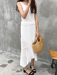 cheap -Women's Going out Sexy Summer Tank Top Skirt Suits,Solid Round Neck Sleeveless Cotton