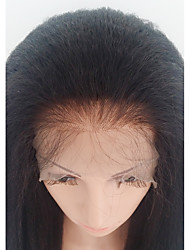 cheap -Human Hair Lace Front Wig Brazilian Hair kinky Straight With Baby Hair 130% Density 100% Hand Tied African American Wig Medium Women's