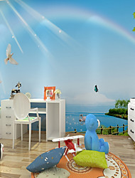 3D Scenery Cartoon Wallpaper For Home Modern/Contemporary Cute Pastoral Style Wall Covering , Canvas Material Adhesive required Mural ,