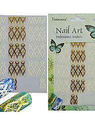 cheap -1pcs Nail Art Sticker Beautiful Lace Sticker 3D Nail Art Decals DIY Manicure Supplies Charm White Gold Decoration BP254