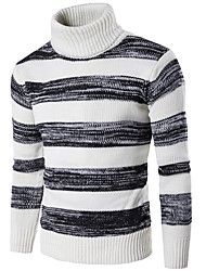 cheap -Men's Daily Going out Weekend Vintage Street chic Striped Turtleneck Pullover, Long Sleeves Winter Fall Cotton Spandex