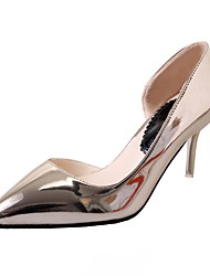 Women's Shoes PU Summer Comfort Heels Kitten Heel Pointed Toe For Casual Dress Silver Black Gold