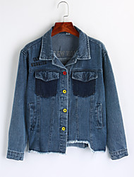 cheap -Women's Going out Cotton Denim Jacket Print Shirt Collar