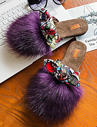 cheap -Women's Shoes Fur Velvet Fall Winter Fur Lining Comfort Slippers & Flip-Flops Flat Heel Round Toe Closed Toe Bowknot Ribbon Tie For