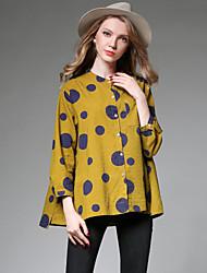 Damen Punkt Einfach Lässig/Alltäglich Trench Coat,Ständer Herbst Lange Ärmel Standard Baumwolle