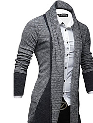 cheap -Men's Daily Long Cardigan,Solid Shirt Collar Long Sleeves Others Winter Medium Stretchy