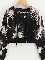 cheap -Women's Daily Holiday Hoodie Print Hooded Micro-elastic Polyester Long Sleeve Winter Fall