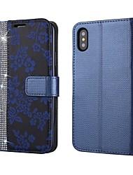 economico -Per iPhone X iPhone 8 Custodie cover A portafoglio Porta-carte di credito Con diamantini Con supporto Con chiusura magnetica Integrale