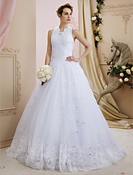 Ball Gown Halter Sweep / Brush Train Lace Tulle Wedding Dress with Sequin Appliques Crystal Detailing by LAN TING BRIDE®