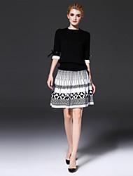 Dámské Geometrický Barevné bloky Běžné/Denní Práce Jednoduchý Tričko Sukně Obleky-Jaro Podzim Spandex Jiné Kulatý Lehce elastické