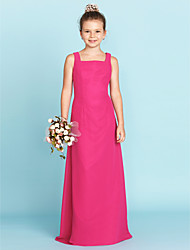 cheap -Sheath / Column Square Neck Floor Length Chiffon Junior Bridesmaid Dress with Buttons by LAN TING BRIDE®