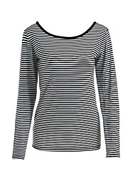 Women's Sports Casual/Daily Simple Fall T-shirt,Striped Round Neck Long Sleeves Cotton Medium
