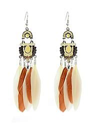 cheap -Women's Tassel Bohemian Drop Earrings - Tassel Bohemian Coffee Black / White Rainbow Feather Earrings For Daily Casual