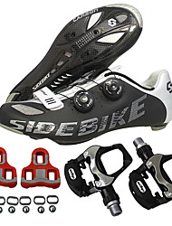 cheap -SIDEBIKE Adults' Cycling Shoes With Pedals & Cleats / Road Bike Shoes Carbon Fiber Cushioning Cycling Black Men's / Breathable Mesh