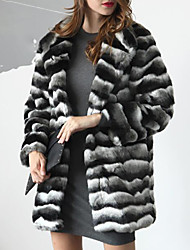cheap -Women's Plus Size Faux Fur Fur Coat - Striped Shirt Collar