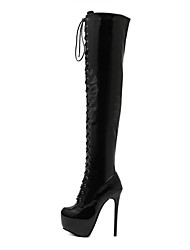 Women's Shoes Patent Leather Spring Fall Winter Basic Pump Comfort Novelty Boots Stiletto Heel Thigh-high Boots Mid-Calf Boots For