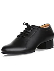 Men's Modern Real Leather Oxford Outdoor Chunky Heel Black