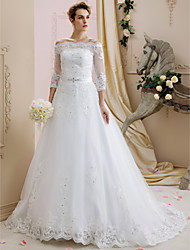 A-Line Off-the-shoulder Sweep / Brush Train Lace Tulle Wedding Dress with Beading Appliques Sash / Ribbon by LAN TING BRIDE®