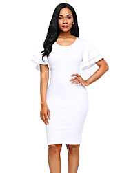 cheap -Women's Party Club Sexy Bodycon Dress,Solid Round Neck Knee-length Short Sleeves Polyester Spandex Summer High Rise Stretchy Medium